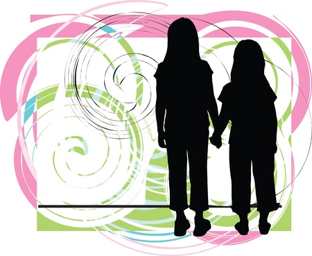 girls holding hands: Friends. Editable Vector Illustration