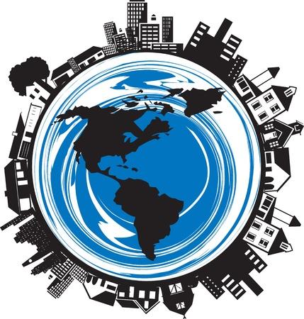 icono contaminacion: Edificios en un planeta. Visi�n de Estados Unidos