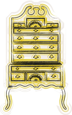 baroque room: victorian furniture illustration