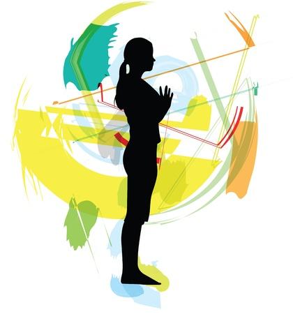 Yoga illustration Stock Vector - 10999850