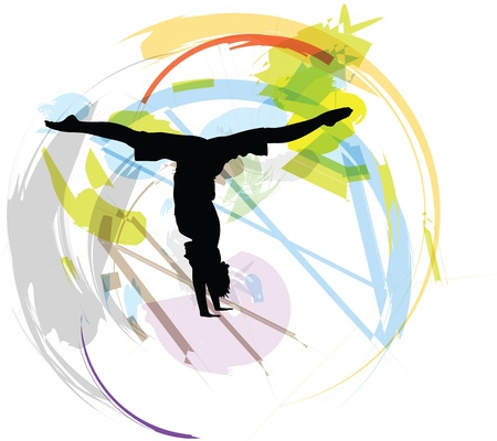 gymnastics silhouette: Yoga illustration