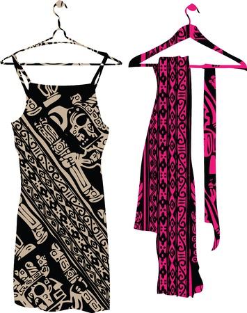 formal dress: Abstract dresses & scarf illustration Illustration