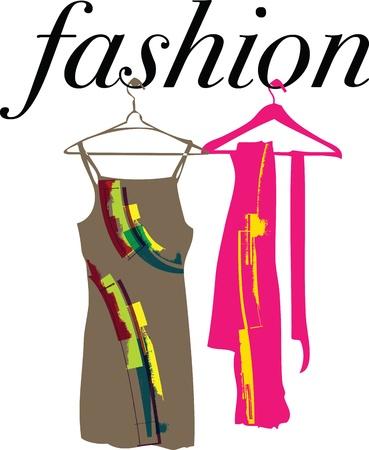 formal clothing: Abstract dresses & scarf illustration Illustration