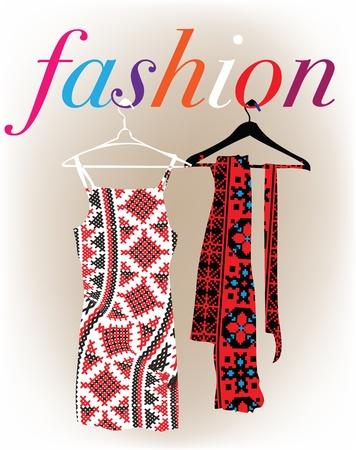 designer clothes: Abstract dresses & scarf illustration Illustration