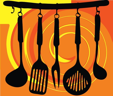 domestic kitchen: Rack of kitchen utensils