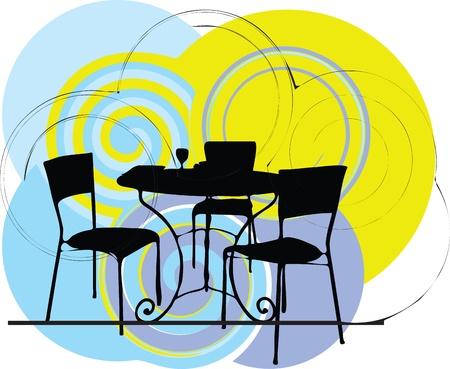 indoor garden: Table & chairs illustration