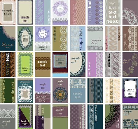 40 vertical business cards. Ancient background Vector