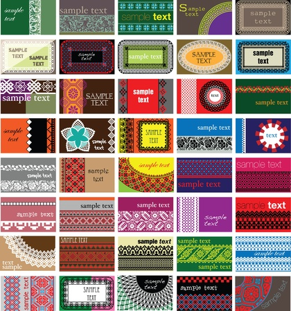 40 horizontal business cards. Ancient background Vector