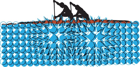 Rowing. Vector illustration Vector