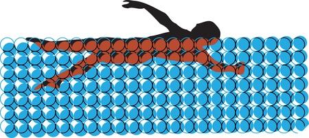 Man swimming Stock Vector - 10999437