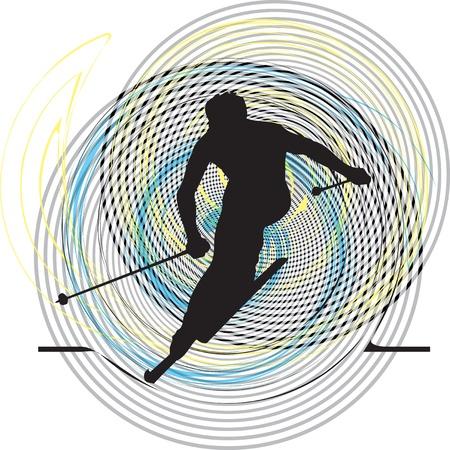 Skiing vector illustration Vector