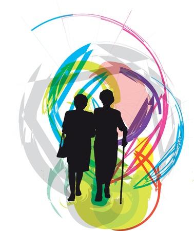 seniorenheim: Mama & Tochter Illustration