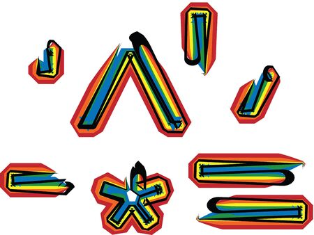 asymmetric: colorful font