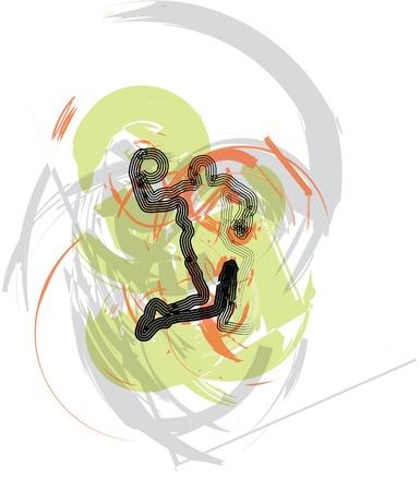 olympic stadium: Basketball player. Vector illustration