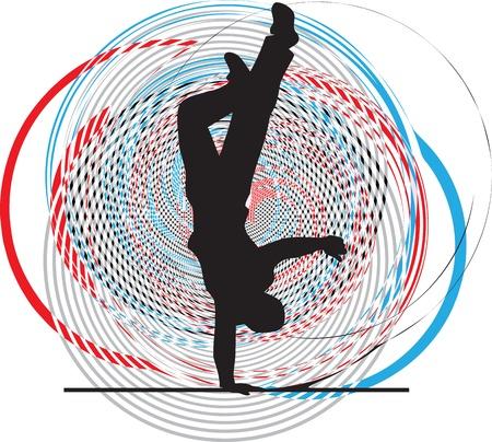 Breakdancer dancing on hand stand. Vector illustration Stock Vector - 11001196