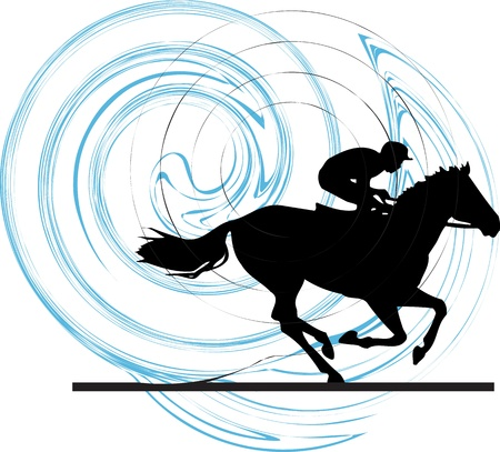 jockeys: Abstract horses silhouettes. Vector illustration Illustration