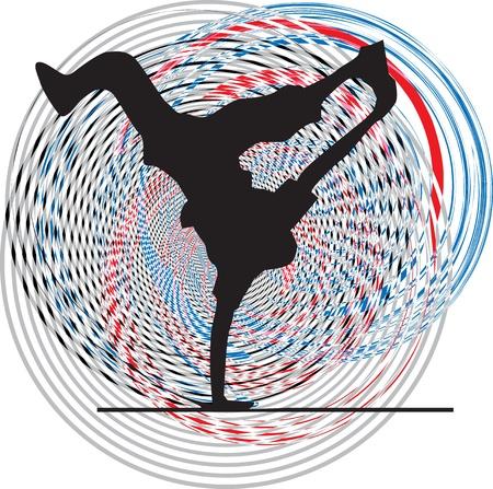 Breakdance baile en el stand de la mano. Ilustración vectorial