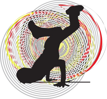 Breakdancer dancing on hand stand. Vector illustration Vector