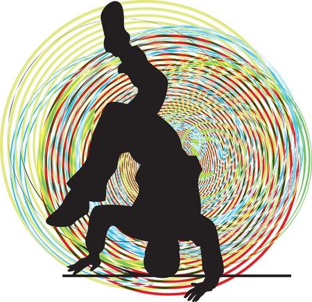 break dance: Breakdancer dancing on hand stand. Vector illustration