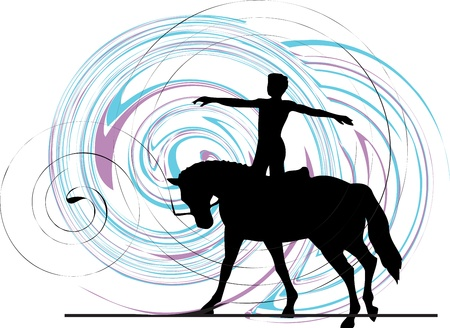 Abstract horses silhouettes. Vector illustration Stock Vector - 11000958
