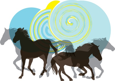 gallop: Abstract horses silhouettes. Vector illustration Illustration