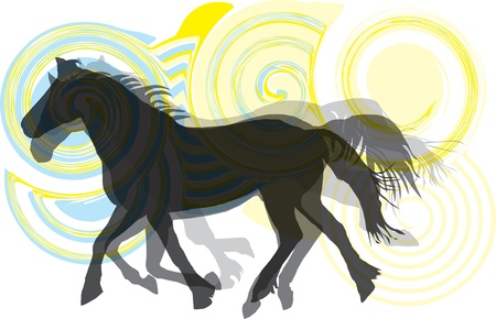 western saddle: Abstract horses silhouettes. Vector illustration Illustration