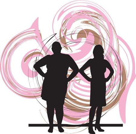 mujeres gordas: Delgada y gorda mujer ilustraci�n