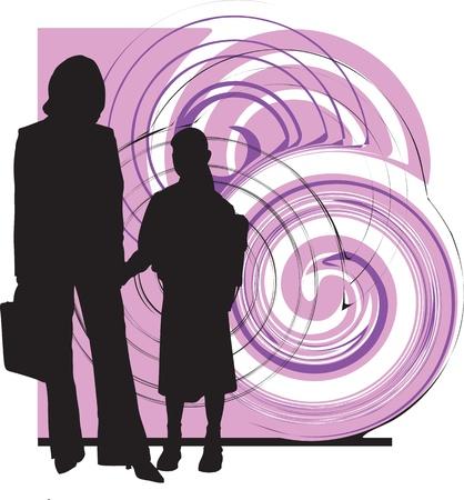 Mom & daughter illustration Vector