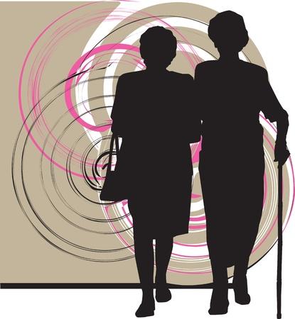 seniorenheim: Frauen Illustration Illustration