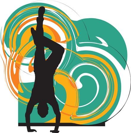 parkour: Breakdance baile en la silueta de la mano de pie Vectores