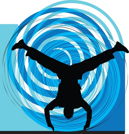 hip hop silhouette: breakdancer illustration