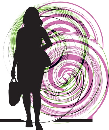 laptop silhouette: Businesswoman illustration