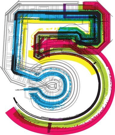 fifth: Technical typography Illustration