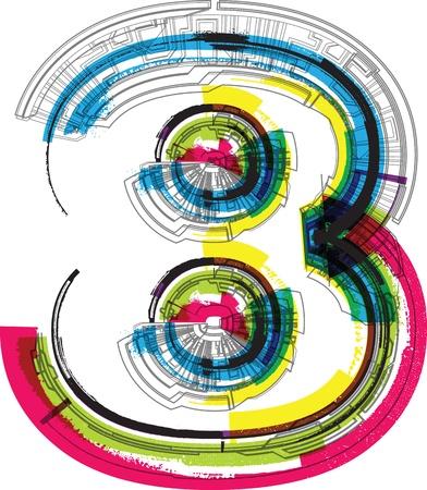 digit 8: Technical typography Illustration