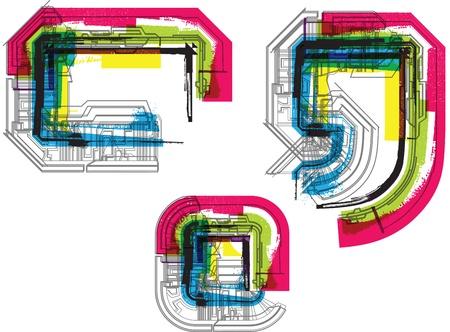 asymmetric: Technical typography Illustration