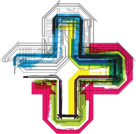 addition symbol: Technical typography Illustration
