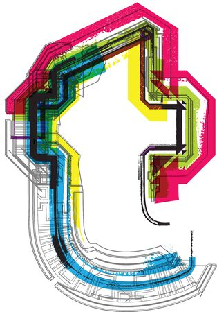 architecture alphabet: Technical typography Illustration
