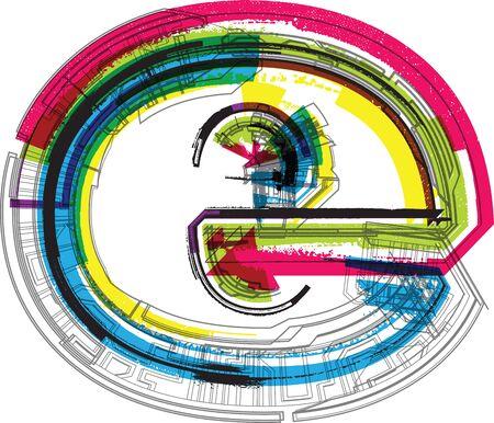 mechanical symbols: Technical typography Illustration