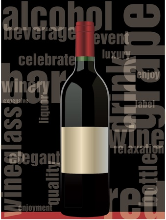 abstract liquor: Red wine bottle Illustration
