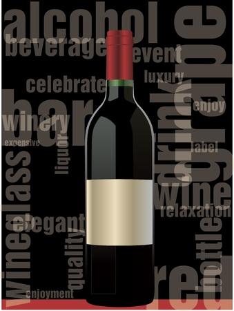 tasting: Red wine bottle Illustration