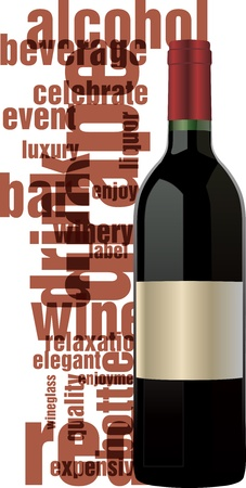liquor: Red wine bottle Illustration