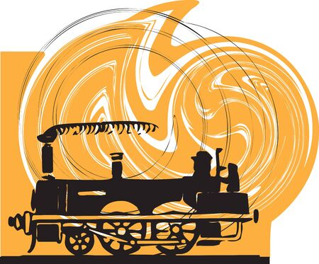 wagon wheel: Train. Vector