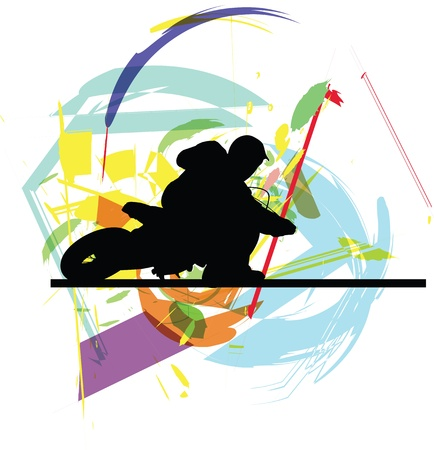 one wheel bike: biker illustration Illustration