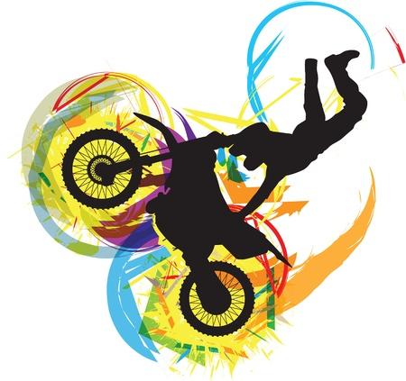 long jump: biker illustration Illustration