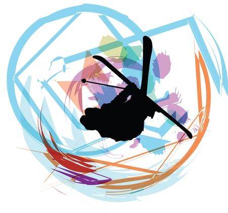Skiing illustration Stock Vector - 11063309
