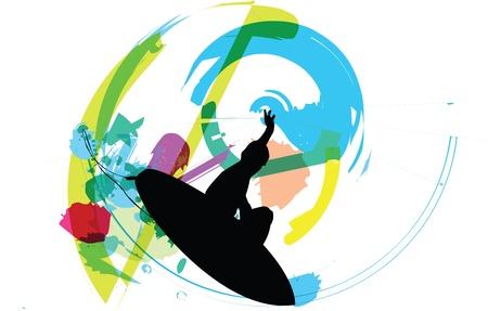 물결: 서퍼의 그림 일러스트