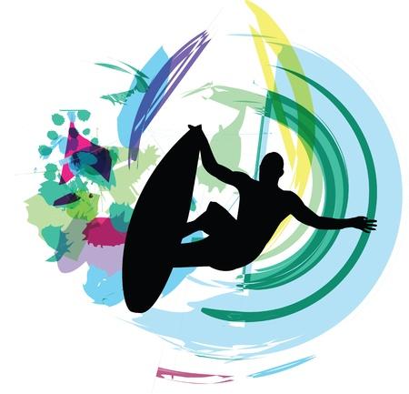 surf silhouettes: Surfer illustrazione