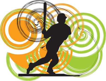 Baseball player illustration Stock Vector - 11062455