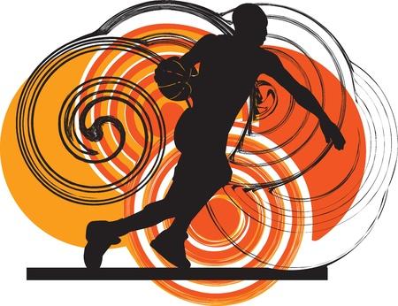 ballon basketball: Illustration joueur de basket