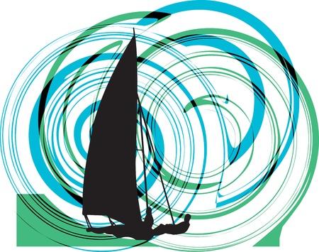 windsurf: Windsurfer ilustraci�n vectorial